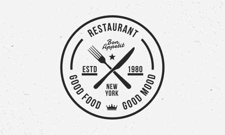 Hipster restaurant logo template with fork and knife icons. Circle vintage label for restaurant, cafe. Retro stamp. Vector illustrator Ilustrace