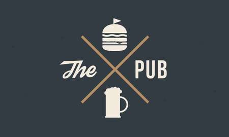 Vintage logo design for Pub, Bar. Label with Beer and burger silhouettes. Vintage hipster label with grunge texture. Vector illustration