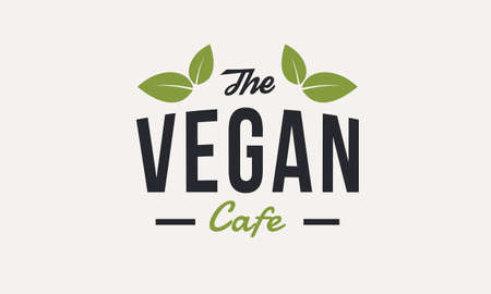 The Vegan Cafe logo template with green leaves isolated. Organic food. Vector logo design for vegetarian food store or restaurant. Ilustrace