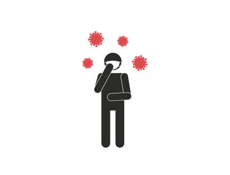 Sick man with health mask and flying viruses isolated on white background. Simple concept of flu. Vector illustration