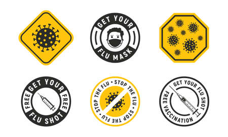 Vector Set of 6 Flu signs, stickers, badges and logos. Warning virus, stop the virus, flu shot, free vaccination, medical mask. Flu labels design isolated on white background.