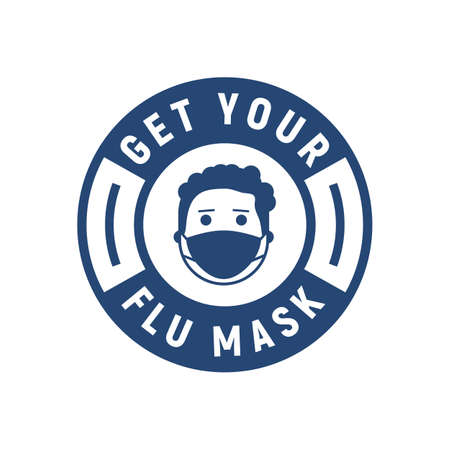 Flu, Medical or Health mask label. Get your flu mask sign. Modern minimal design. Young man with flu mask isolated on white background.