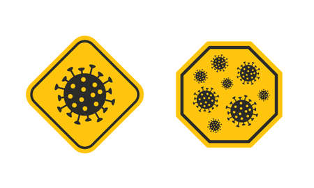 Warning signs, stickers with virus, bacteria icons isolated on white background. Stop the Flu stickers design. Modern minimal design. Vector illustration Ilustrace