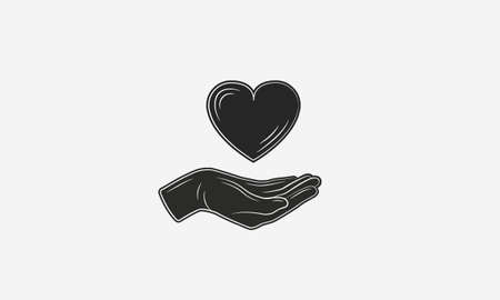 Hand with heart logo template. Volunteer logo. Give love sign concept. Vector illustration Ilustrace