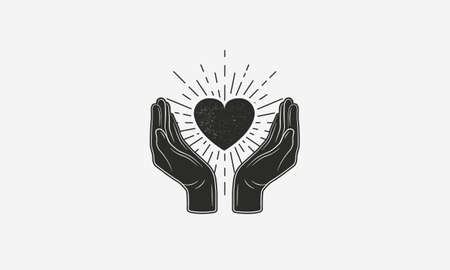 Vintage logo of love. Hands with heart and sunburst. Give love sign concept with grunge texture. Vector illustration Ilustrace