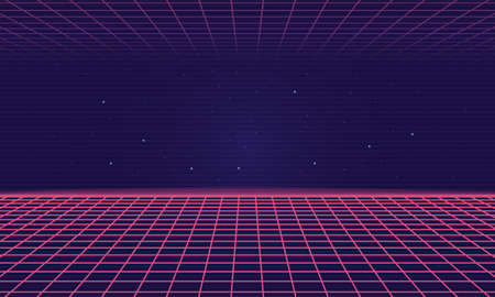 Trendy Retro 80s, 90s background with laser grid. Neon sci-fi abstract background template. Vector illustration Ilustrace
