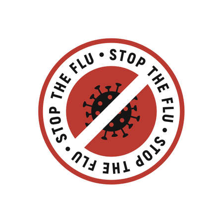 Stop the flu label, sticker, logo with virus icon isolated on white background. Flu logo, sticker design. Vector illustration Ilustrace