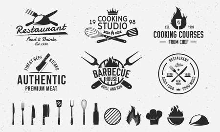 Vintage hipster templates and 13 design elements for restaurant business. Butchery, Barbecue, Cooking Class and Restaurant emblems templates. Fork, knife, whisk, cooking icons.Vector illustration Ilustracje wektorowe