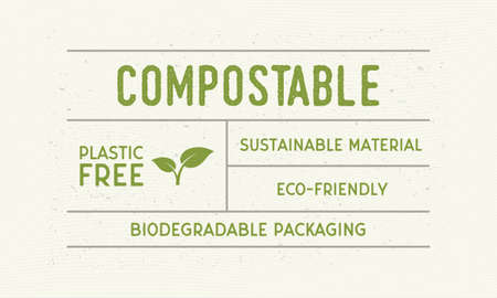 Compostable packaging vintage label. Old label with plant icon. Trendy minimal design. Vector illustration