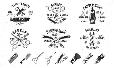 Barber shop vintage hipster templates. 6 and 8 design elements for barber shop, haircut's salon. Barbershop, Barber, Haircut's salon emblems templates. Vector illustration