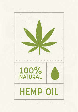 Hemp Oil vintage label. Old label design with water drop and cannabis leaf icon. Retro design label,  card. Vintage sticker for cannabis and hemp products. Medical Cannabis oil. Vector graphic.