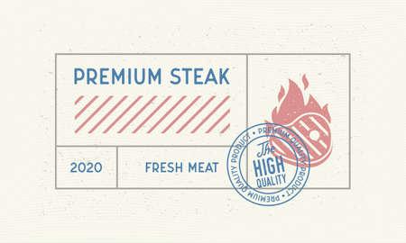Premium Steak vintage label. Minimal design of old label with steak silhouette and stamp. Vintage sticker, label for steakhouse, barbecue, restaurant