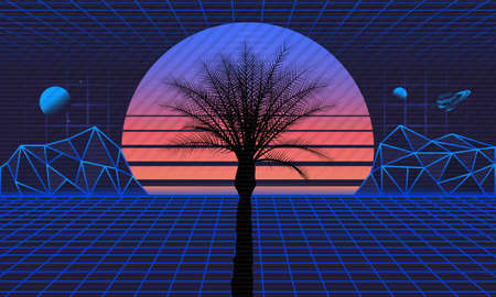 1980s Retro futuristic background. Retro futuristic sunset with laser grids and palm silhouette. Sci-Fi, Vaporwave background in 80s style. Vector illustration Illustration