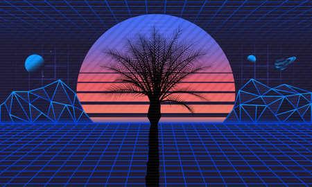 1980s Retro futuristic background. Retro futuristic sunset with laser grids and palm silhouette. Sci-Fi, Vaporwave background in 80s style. Vector illustration Ilustração