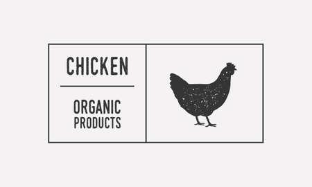 Chicken, Poultry vintage label. Old label with Hen silhouette. Trendy minimal design. Label, tag,  card. Vintage sticker template for packaging. Vector illustration Ilustração