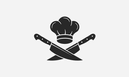 Chef with chef's hat and knives icons. Cooking vintage . Cooking Classes template . Label, badge for food studio, cooking courses, culinary school. Vector illustration