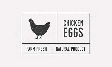 Chicken eggs packaging vintage label. Old label with chicken, poultry icon. Trendy minimal design. Label, tag,  card. Vintage sticker template for packaging. Vector illustration