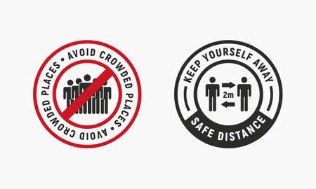 Coronavirus outbreak . Novel coronavirus (COVID-19). Avoid Crowded places and Social distance icons. People icons. Flu signs, stickers, badges . Vector illustration