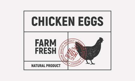 Chicken eggs vintage label. Old label with Hen silhouette. Trendy minimal design. Label, tag,  card template. Vintage sticker. Vector illustration
