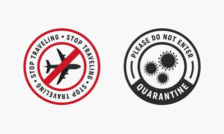 Coronavirus outbreak . Novel coronavirus (COVID-19). Stop traveling and quarantine icons. People icons. Flu signs, stickers, badges . Vector illustration
