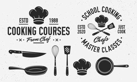 Vintage Cooking with cooking utensils. Cooking class template with knife, cooking pan, chef's cap. Emblem set for Culinary school, food studio, culinary courses. Vector illustration Ilustração
