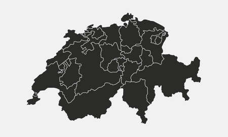 Switzerland map with regions, cantons, states isolated on white background. Map of Switzerland. Swiss map. Vector illustration