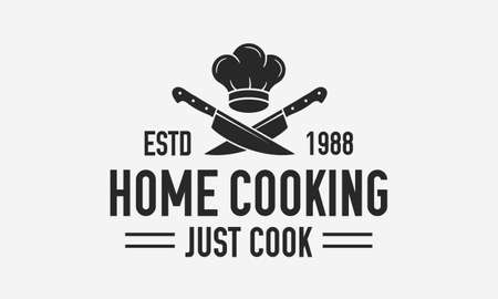 Home Cooking vintage . Cooking Courses template with chef cap and crossed knives. Label, badge, poster for online courses, food studio, cooking class, culinary school. Vector illustration