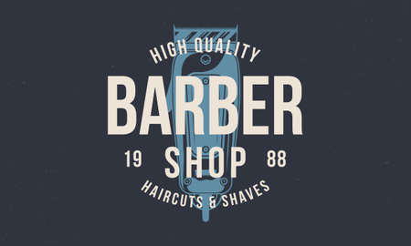 Vintage Barbershop . Barber shop print with hair clipper. Vintage poster for barber shop. Retro print for hipster haircut's salon, T-shirt, typography. Vector illustration