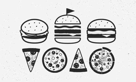 Fast food icon set. Vintage Burger icons in 3 different views. Vintage Pizza icons. Fast food icons isolated on white background. Vector illustration