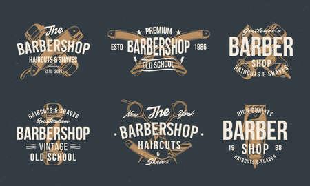 Barber shop vintage hipster templates. Barbershop stamp, print, label set. Barbershop, Barber, Haircut's salon poster templates. Vector illustration