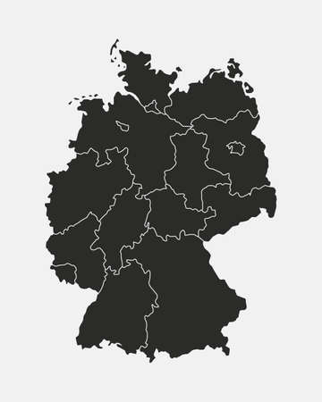Germany map isolated on white background. Germany map with regions, states. Vector template. Ilustração