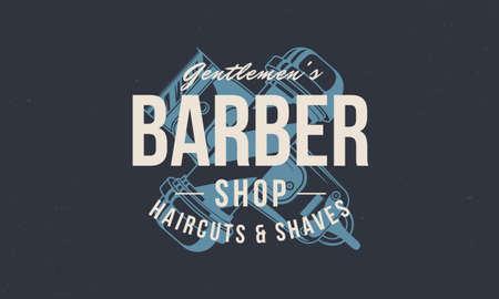 Barber vintage template. Barbershop retro print, poster. Vintage design for hipster haircut salon. Vector illustration