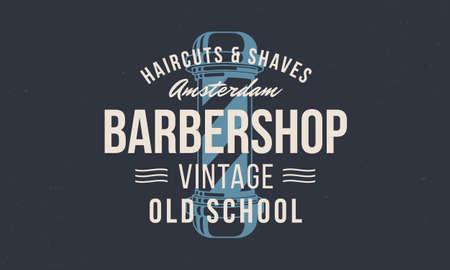 Barbershop, barber. with barber pole silhouette. Barber shop for hipster haircut's salon. Vintage typography for barber shop. Vector Illustration Ilustração
