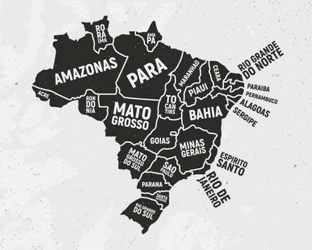 Brazil map with states. Poster map of Brazil with state names. Vintage Brazilian background. Vector illustration