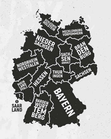 Germany map with states. Poster map of Germany with state names. Vintage Germany background. Vector illustration Ilustração