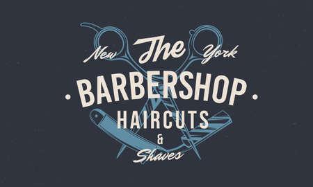 Barber shop vintage hipster template. Barbershop stamp, print, label. Barbershop, Barber, Haircut's salon poster template. Vector illustration