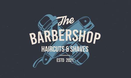 Barber shop vintage hipster template. Barbershop stamp, print, label with barber pole and straight razor. Barbershop, Barber, Haircut's salon poster template. Vector illustration Illustration