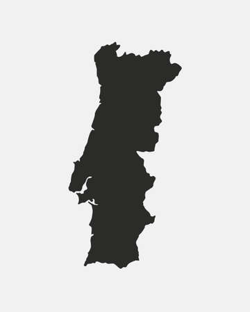 Portugal map isolated on white background. Outline Portugal map. Vector template Ilustração
