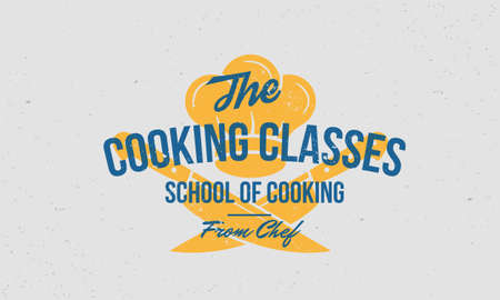 Cooking Class vintage . Cooking Classes template with two crossed knives and chef cap. Poster, print for food studio, cooking courses, culinary school. Vector illustration Ilustração