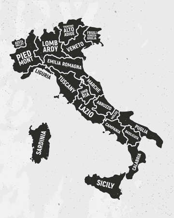 Italy map with states. Poster map of Italy with state names. Vintage Italian background. Vector illustration