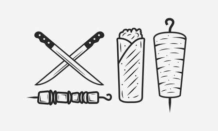 Doner Kebab set isolated on white background. Meat knives, kebab, shawarma, kebab sandwich. Shashlik on skewer. Kebab vintage design element for restaurant menu,  poster. Vector illustration