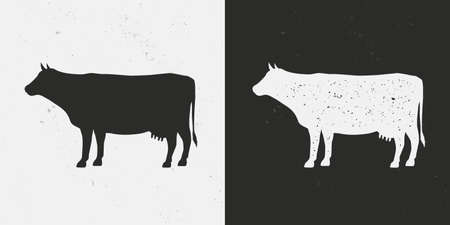 Beef, Cow icons isolated on white and black backgrounds. Cow silhouette with grunge texture. Vintage farm icon. Beef template for meat store, grocery, butcher shop. Vector illustration