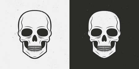 Skull icon isolated on white and black backgrounds. Vintage skull tattoo. Vector illustration
