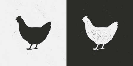 Chicken, Hen icons isolated on white and black backgrounds. Hen silhouette with grunge texture. Vintage poultry farm icon. Chicken template for meat store, grocery, butcher shop. Vector illustration Ilustração