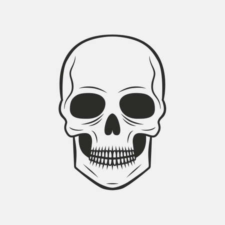 Vintage Skull with grunge texture isolated on white background. Skeleton face. Scary, horror icon. Tattoo template. Vector illustration
