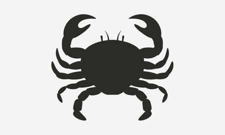 Vector crab silhouette. Crab silhouette icon isolated on white background.
