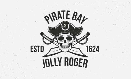 Jolly Roger vintage template. Pirate with skull and swords. Print for T-shirt, typography. Pirate emblem isolated on white background. Vector illustration Ilustração