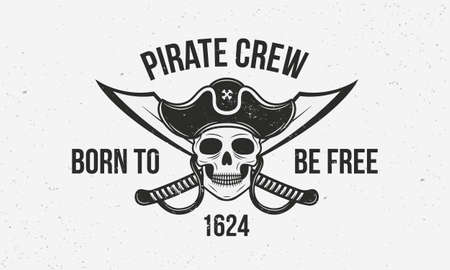 Pirate vintage template. Pirate with skull and swords. Print for T-shirt, typography. Vector illustration