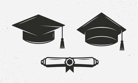 Graduation cap, Education cap icon set isolated on white background. Scholarship icon. Graduation ceremony icons. Vector illustration Illustration