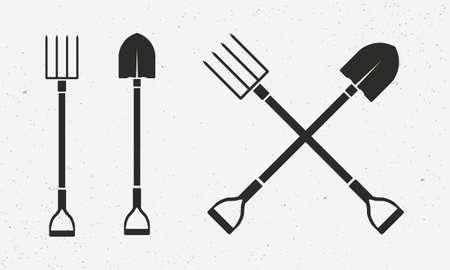Gardening tools set. Farm icons isolated on white background. Shovel and pitchfork icons. Vector illustration